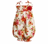 Bonnie Jean Newborn  Infant Smocked Orange Floral Poplin Party Pant