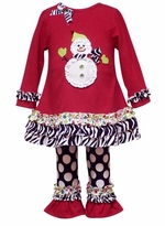 Red Knit SnowmanTop with Flare Pant Set SOLD OUT