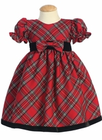 Infant or Toddler  Christmas Holiday Dress - Red Plaid with Velvet