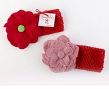 Baby Headbands - Red Crochet Flower - 0-6 month (Choose)