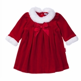 Holiday Dress Red Velour with  Faux Fur Trim