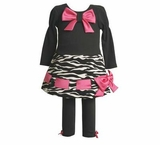 Black Zebra Print Pant Set with Pink Bows  SOLD OUT