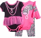 Zebra Print 4 Pc. Set -  Long Sleeve Bodysuit & Short Sleeve  SOLD OUT