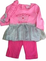 "Pink ""Princess"" Silver Tutu & Legging Set w/ Headband"