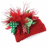 Red Christmas Hat with Feathers - SOLD OUT