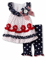 Newborn to Toddler Girls Patriotic Navy Dot Set