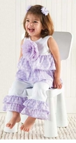 Purple Two Piece Ruffle Pant Set  sold out
