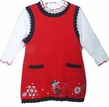 Rare Editions Ladybug Sweater Dress Set 9 month - 24 month