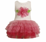 Girls Tutu Dress Newborn to 6X : Pink Flower Tutu