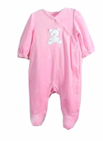 Newborn Girls Velour Footie - Pink Teddy -  SIZE 3/6 MONTH