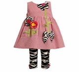 Infant or Toddler Spring Girls Clothes : Check Zebra Print Pant Set