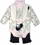 Newborn Baby Girls Black & Cream Toile Gift Set - 4 pcs