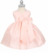 Pink Dupioni V-Neck Dress - Infant Party Dress  out of stock