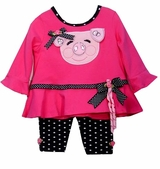 Fuchsia Dot Lil Piggy Face Legging Set