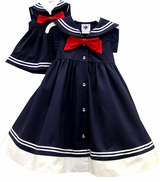 Nautical Navy Sailor Dress - with Accessory