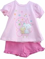 Infant Girls Kitty Cat Short Set -  9 month - last one