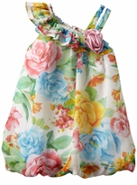 Bonnie Jean Pink Chiffon One Shoulder Dressy Floral Bubble