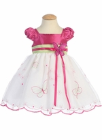 Lito Girls Dresses White Fuchsia Butterfly Dress  sold out