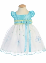 Lito Girls Spring Dress - White / Blue Butterfly Dress