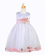 Flower Girls Dress - White with PINK Petals - sold out