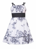 Sleeveless White Dress with Black Flower Print  - Sold out