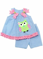 Turquoise Seersucker Short Set With Owl Applique  2T - 6X