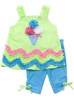 Rare Editions  Blue Turq and Lime Ice Cream Applique Legging Set
