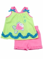 Rare Editions Lime/ Neon Pink Short Set With Fish Applique