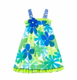 Rare Editions  2T - 6X Blue Lime Floral Print Sundress