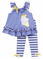 Periwinkle Ice Cream Applique Legging Set