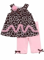 Rare Editions Girls Brown Animal Print Top And Pink Legging Set