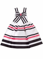 Girls Social Sundress: White/Black/Fuchsia Ribbon Social Dress