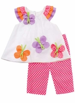 Fuchsia/ White Polka Dot Set With Butterfly Applique