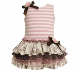 Bonnie Jean Girls Pink Tea Party Tiered Toile Tutu Dress -sold out