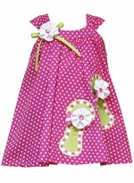 Rare Editions Fuchsia Polka Dot Dress With Sandal Applique