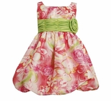 Bonnie Jean Girls 2T - 16 Easter or Spring Pink Floral Bubble Dress