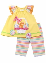 Infant or Girls Easter Outfit : Yellow Easter Basket Capri Set