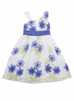 Periwinkle/ Lime Flower Soutach Dress