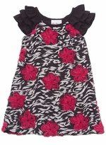 Rare Editions Girls Dresses  - Black and White Zebra Fuchsia Soutache CLEARANCE