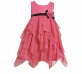 Fuchsia Glitter Tiered Dress  - Sold Out