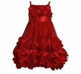 Red Mesh Flower Dress  - sold out