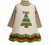 Ivory Fleece Christmas Tree Dress Set  12 month - 5