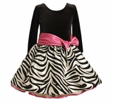Bonnie Jean Girls Dress - Fuchsia Zebra Hipster Dress with Fuchsia Bow