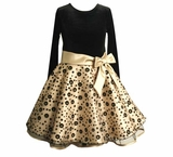 Toddler Girls Special Occasion Dress - Black and Gold Bow Dress