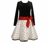 Girls Dress - Black and White with Red Bow Size 16 Last one