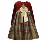 Girls Burgundy and Green Plaid Holiday Dress - sold out