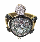 Antique Gold Tone Rhinestone Turtle Bracelet