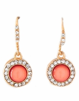 Coral and Rhinestone Earrings