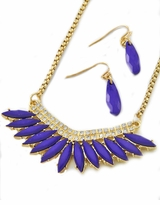 Deep Purple Teardrop Pendant Rhinestone Necklace and Earring SOLD OUT
