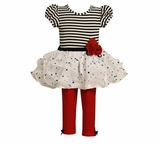 Bonnie Jean Red/Black/Wht Tutu Legging Set
